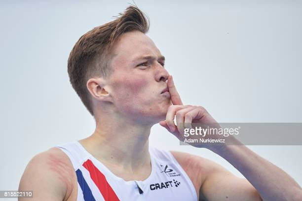 Karsten Warholm from Norway celebrates his victory in men's 400m hurdles final during Day 4 of European Athletics U23 Championships 2017 at Zawisza...
