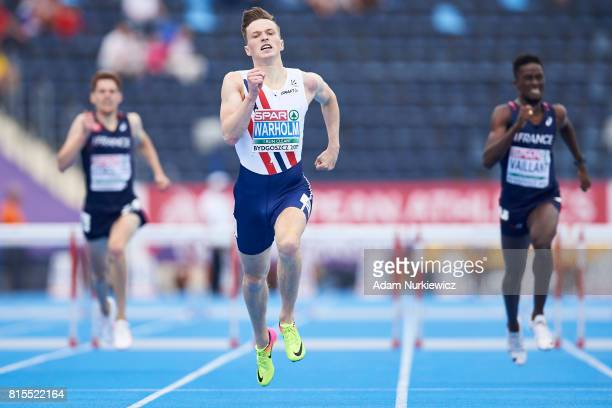 Karsten Warholm from Norway competes in men's 400m hurdles final during Day 4 of European Athletics U23 Championships 2017 at Zawisza Stadium on July...