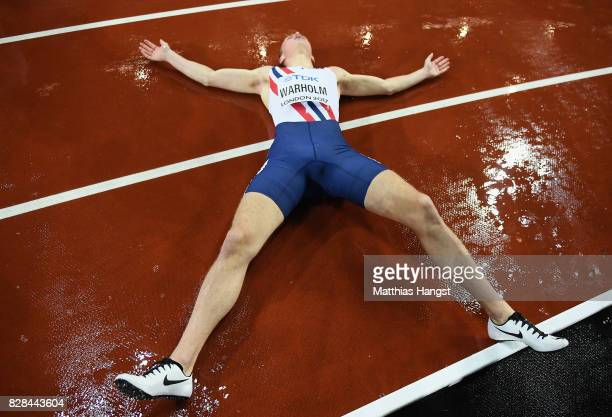 Karsten Warholm of Norway celebrates after winning gold in the Men's 400 metres hurdles final during day six of the 16th IAAF World Athletics...
