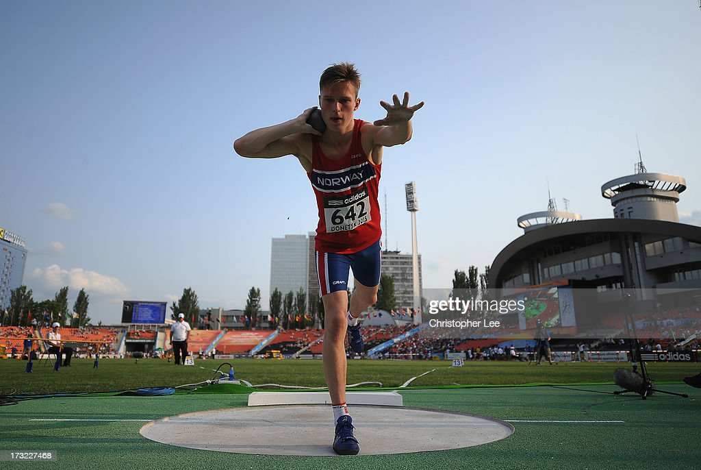 Karsten Warholm of Norway in the 5kg Shot Put of the Boys Octathlon during Day 1 of the IAAF World Youth Championships at the RSC Olimpiyskiy Stadium on July 10, 2013 in Donetsk, Ukraine.