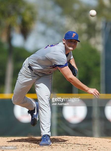 Karsten Whitson of the Florida Gators throws the ball against the Miami Hurricanes on February 23 2014 at Alex Rodriguez Park at Mark Light Field in...