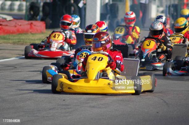 Kart race with kart number 40 on the lead