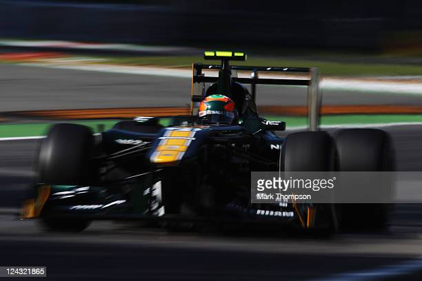 Karun Chandhok of India and Team Lotus drives during practice for the Italian Formula One Grand Prix at the Autodromo Nazionale di Monza on September...