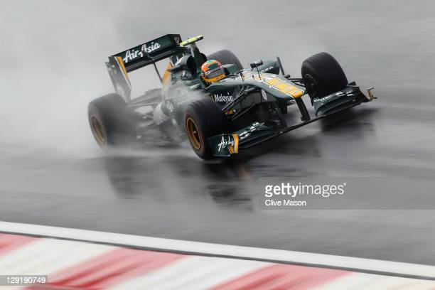 Karun Chandhok of India and Team Lotus drives during practice for the Korean Formula One Grand Prix at the Korea International Circuit on October 14...