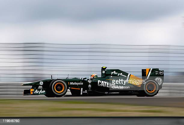 Karun Chandhok of India and Team Lotus drives during qualifying for the German Formula One Grand Prix at the Nurburgring on July 23 2011 in Nuerburg...