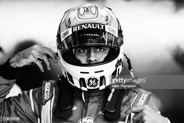 Karun Chandhok of India and Team Lotus prepares to drive during practice for the German Formula One Grand Prix at the Nurburgring on July 22 2011 in...