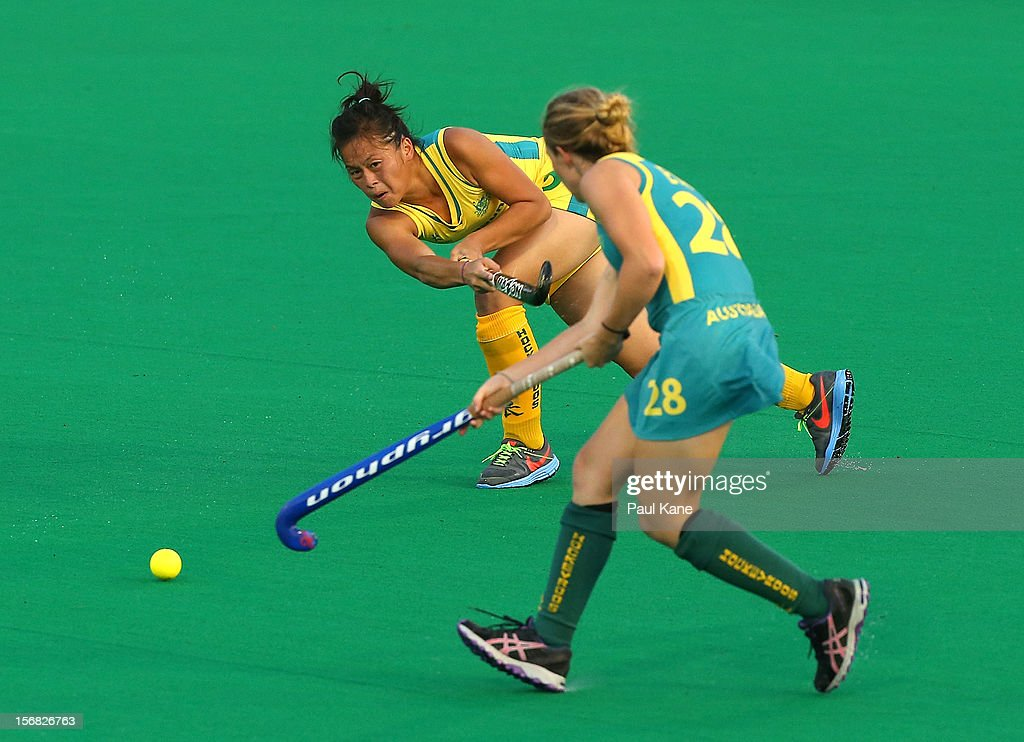 Kary Chau of the Hockeyroos passes the ball during the womens Australia v Australia under 21 game on day one of the 2012 International Super Series at Perth Hockey Stadium on November 22, 2012 in Perth, Australia.