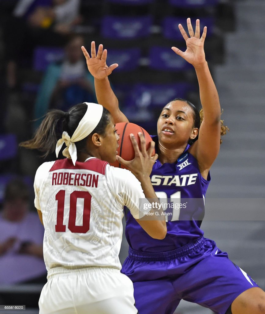 Karyla Middlebrook #21 of the Kansas State Wildcats defends Briana Roberson #10 of the Stanford Cardinal during the second round of the 2017 NCAA Women's Basketball Tournament at Bramlage Coliseum on March 20, 2017 in Manhattan, Kansas.