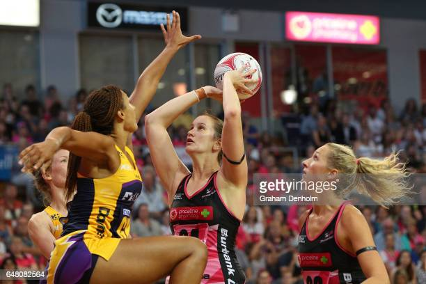 Karyn Bailey of the Thunderbirds shoots during the round three Super Netball match between the Thunderbirds and the Lightning at Priceline Stadium on...