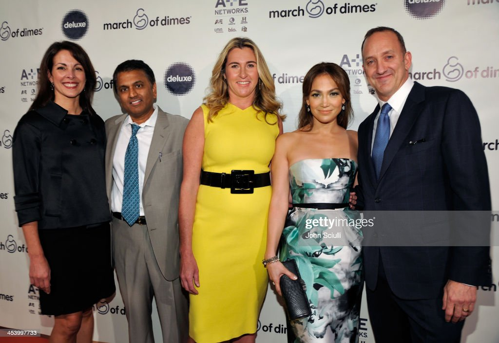 Karyn DeMartini, March of Dimes State Directo, honorees Balaji Govindaswami, M.D. and Nancy Dubuc, actress/singer <a gi-track='captionPersonalityLinkClicked' href=/galleries/search?phrase=Jennifer+Lopez&family=editorial&specificpeople=201784 ng-click='$event.stopPropagation()'>Jennifer Lopez</a> and President of Universal Pictures Jimmy Horowitz attend the March of Dimes Celebration of Babies Luncheon at Beverly Hills Hotel on December 6, 2013 in Beverly Hills, California.