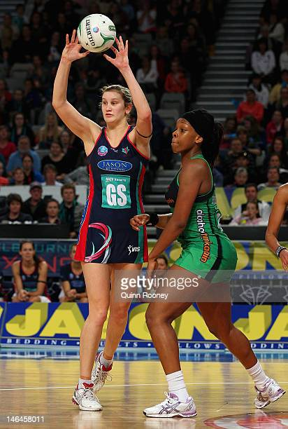 Karyn Howarth of the Vixens passes the ball during the round 12 ANZ Championship match between the Melbourne Vixens and the West Coast Fever at...