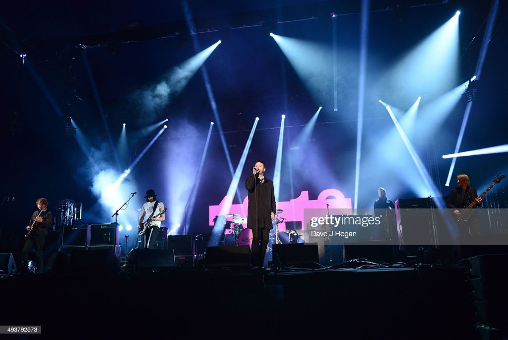 Kasabian (L-R) Sergio Pizzorno, Ian Matthews, <a gi-track='captionPersonalityLinkClicked' href=/galleries/search?phrase=Tom+Meighan&family=editorial&specificpeople=210642 ng-click='$event.stopPropagation()'>Tom Meighan</a> and Chris Edwards perform live at Radio 1's Big Weekend at Glasgow Green on May 25, 2014 in Glasgow, Scotland.