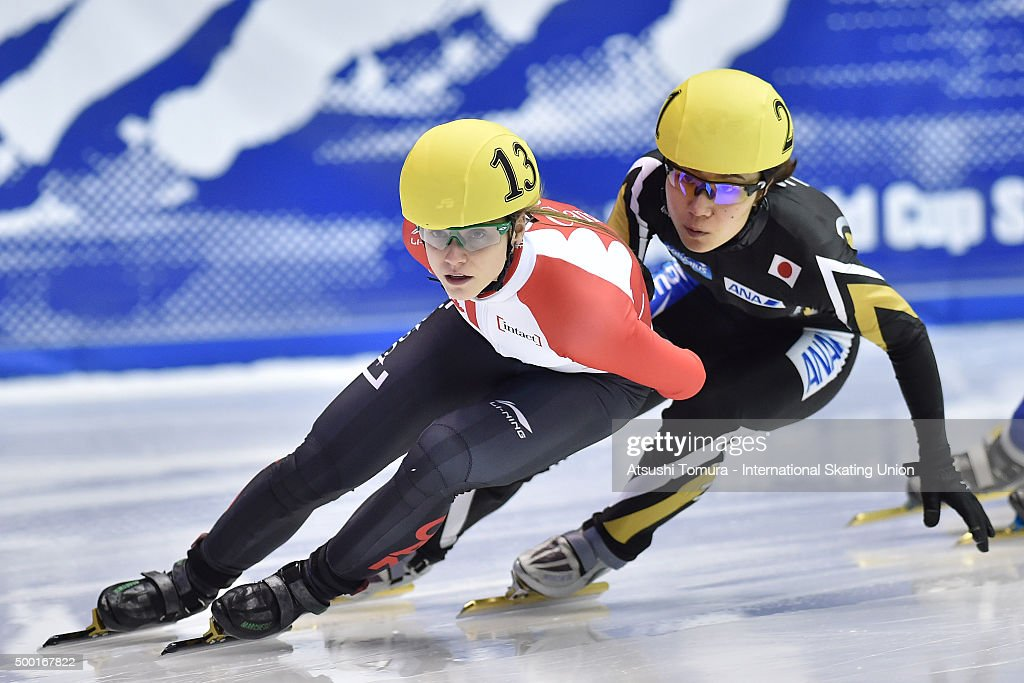 Kasandra Bradette of Canada (L) and <a gi-track='captionPersonalityLinkClicked' href=/galleries/search?phrase=Yui+Sakai&family=editorial&specificpeople=6521438 ng-click='$event.stopPropagation()'>Yui Sakai</a> of Japan (R) compete in the ladies 1000m quaterfinal on day three of the ISU World Cup Short Track Speed Skating 2015 Nagoya at the Nippon Gaishi Arena on December 6, 2015 in Nagoya, Japan.