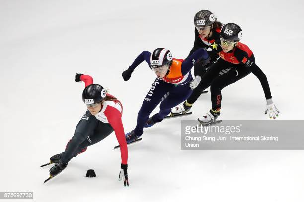 Kasandra Bradette of Canada Lara van Ruijven of Netherlands Kexin Fan of China and Petra Jaszapati of Hungray compete in the Ladies 500m...