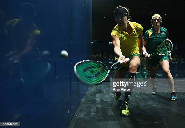 Kasey Brown of Australia plays the ball during the Squash Mixed Doubles Semi Final between Australia and Australia at Scotstoun Sports Campus during...