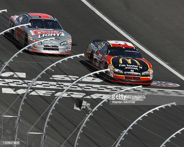 Kasey Kahne and David Stremme get the green flag to start the race during the UAW DaimlerChrysler 400 at the Las Vegas Motor Speedway in Las Vegas...