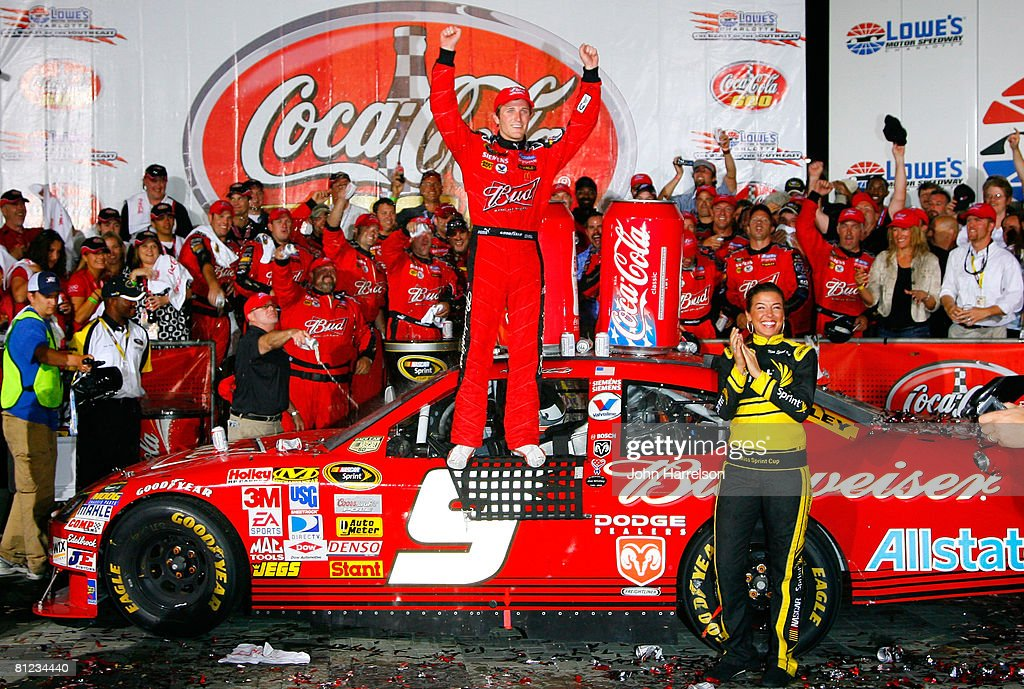 Kasey Kahne driver of the Budweiser Dodge celebrates in victory lane after winning the NASCAR Sprint Cup Series CocaCola 600 on May 25 2008 at Lowe's...