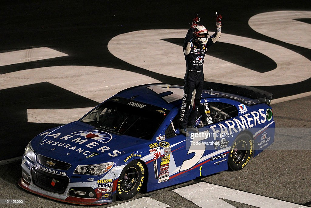 Kasey Kahne driver of the Farmers Insurance Chevrolet celebrates after winning the NASCAR Sprint Cup Series OralB USA 500 at Atlanta Motor Speedway...