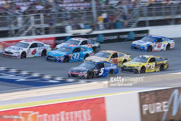 Kasey Kahne driver of the Farmers Insurance Chevrolet Darrell Wallace Jr driver of the Smithfield Ford Trevor Bayne driver of the AdvoCare Ford Ryan...