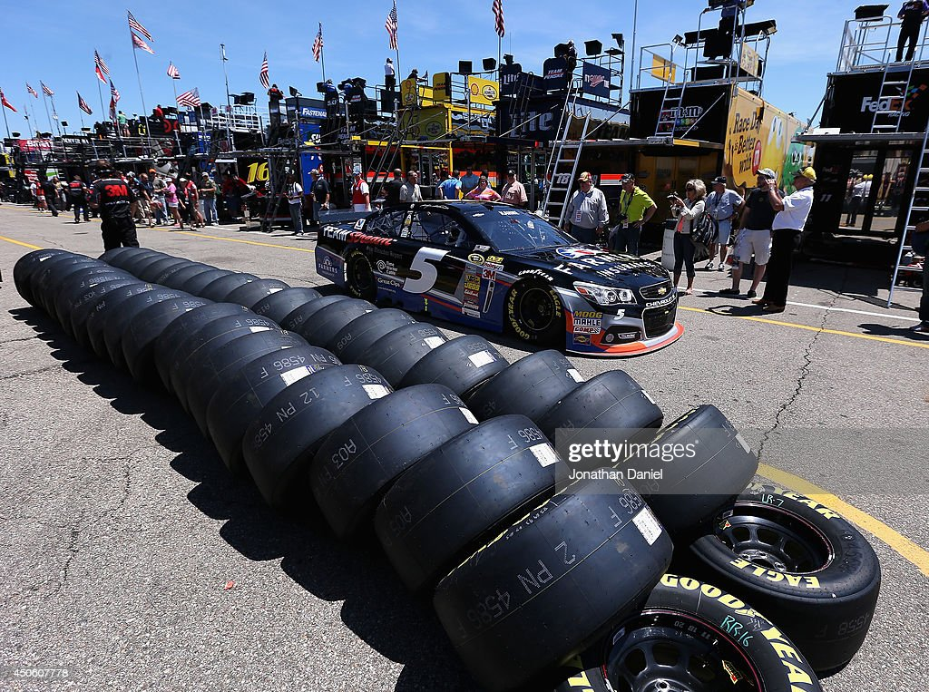 Kasey Kahne, driver of the #5 Farmers Insurance Chevrolet, drives through the garage area during practice for the NASCAR Sprint Cup Series Quicken Loans 400 at Michigan International Speedway on June 14, 2014 in Brooklyn, Michigan.