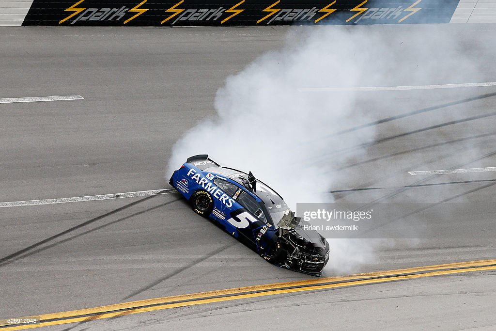 Kasey Kahne, driver of the #5 Farmers Insurance Chevrolet, has an on track incident during the NASCAR Sprint Cup Series GEICO 500 at Talladega Superspeedway on May 1, 2016 in Talladega, Alabama.