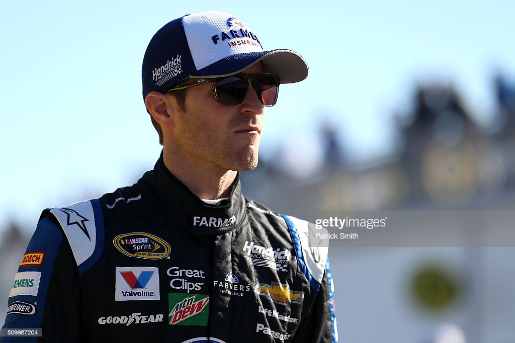 <a gi-track='captionPersonalityLinkClicked' href=/galleries/search?phrase=Kasey+Kahne&family=editorial&specificpeople=183374 ng-click='$event.stopPropagation()'>Kasey Kahne</a>, driver of the #5 Farmers Insurance Chevrolet, looks on in the garage area during practice for the NASCAR Sprint Cup Series Daytona 500 at Daytona International Speedway on February 13, 2016 in Daytona Beach, Florida.