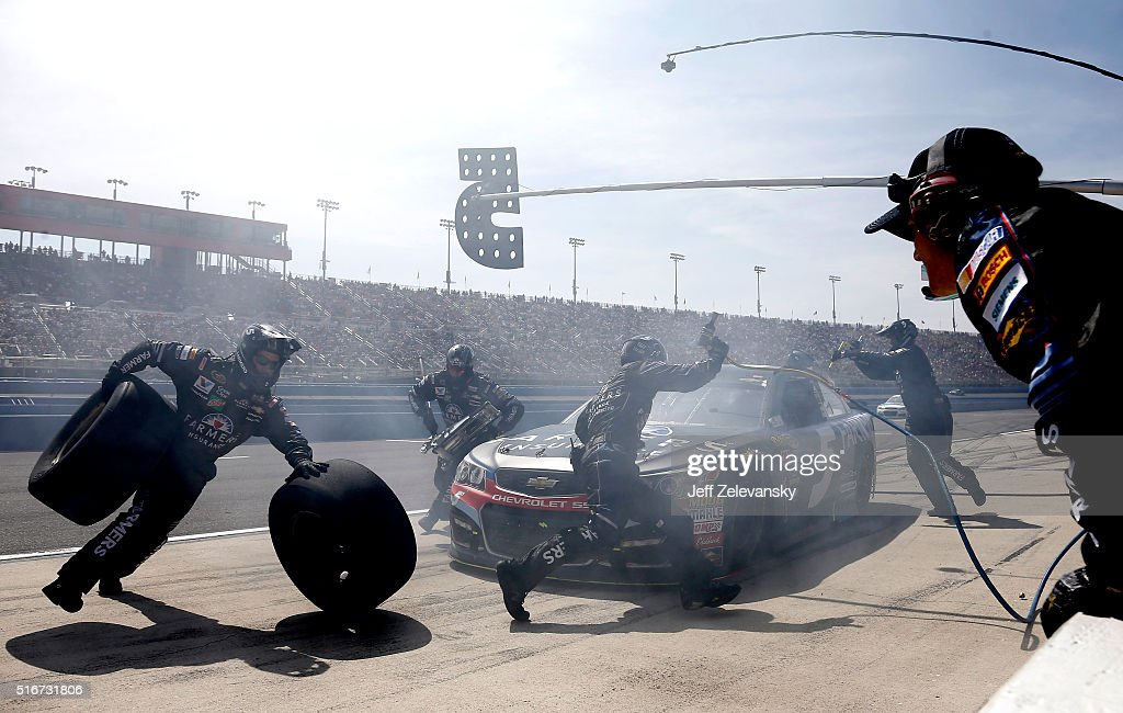 Kasey Kahne, driver of the #5 Farmers Insurance Chevrolet, pits during the NASCAR Sprint Cup Series Auto Club 400 at Auto Club Speedway on March 20, 2016 in Fontana, California.