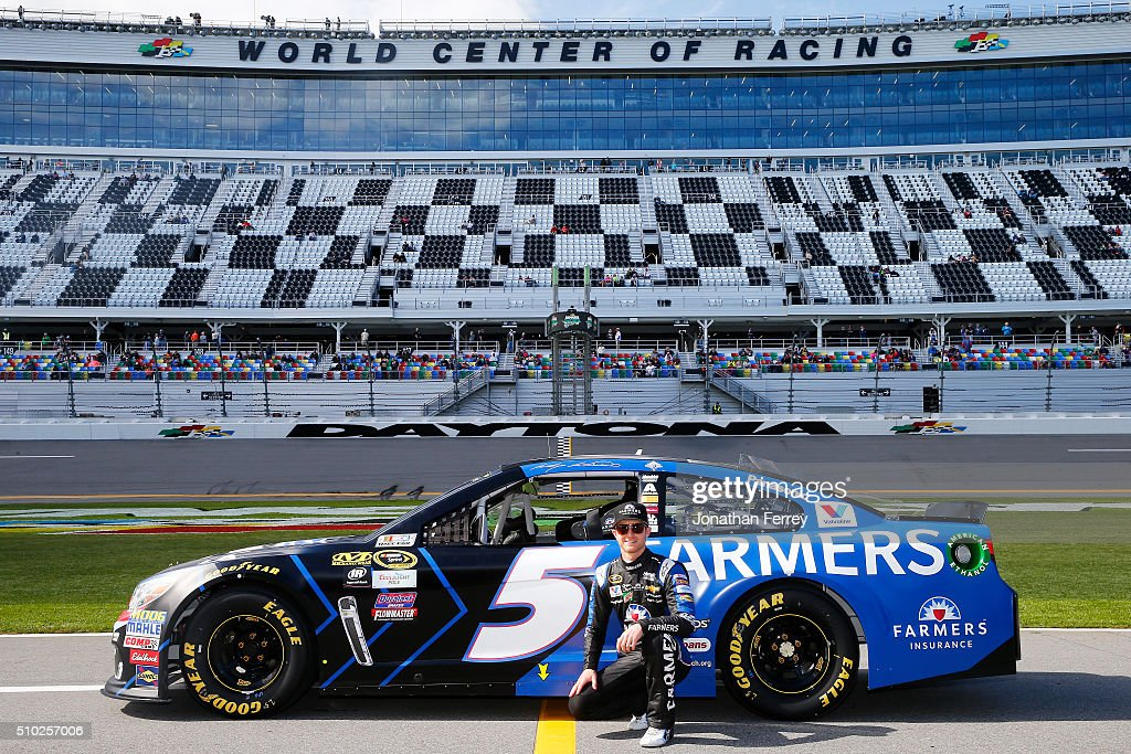 <a gi-track='captionPersonalityLinkClicked' href=/galleries/search?phrase=Kasey+Kahne&family=editorial&specificpeople=183374 ng-click='$event.stopPropagation()'>Kasey Kahne</a>, driver of the #5 Farmers Insurance Chevrolet, poses with his car after qualifying for the NASCAR Sprint Cup Series Daytona 500 at Daytona International Speedway on February 14, 2016 in Daytona Beach, Florida.
