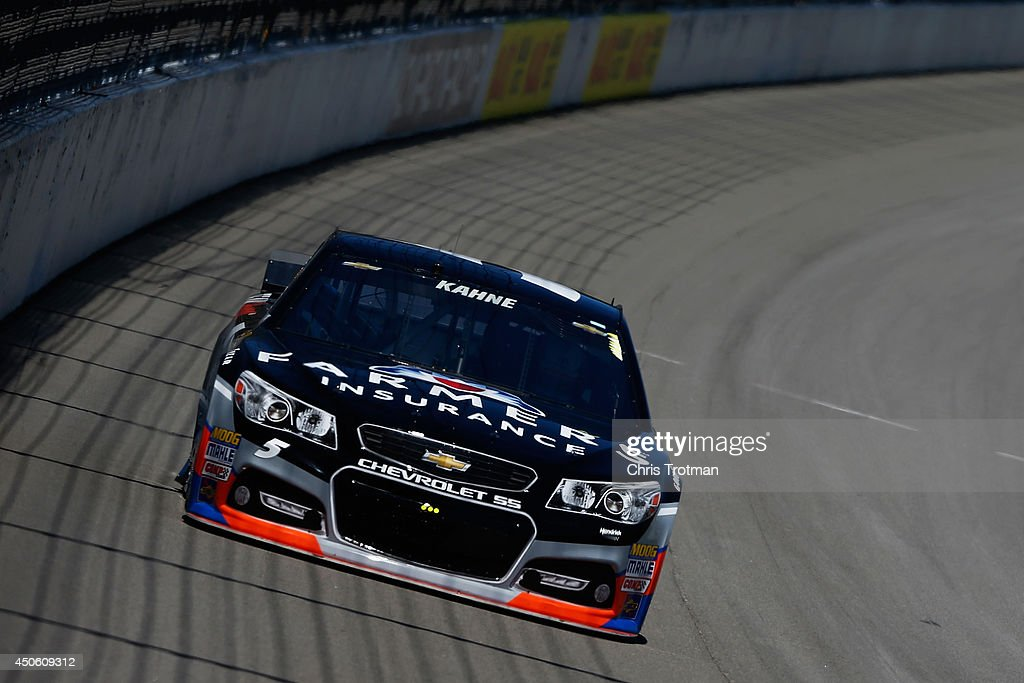 Kasey Kahne, driver of the #5 Farmers Insurance Chevrolet, practices for the NASCAR Sprint Cup Series Quicken Loans 400 at Michigan International Speedway on June 14, 2014 in Brooklyn, Michigan.