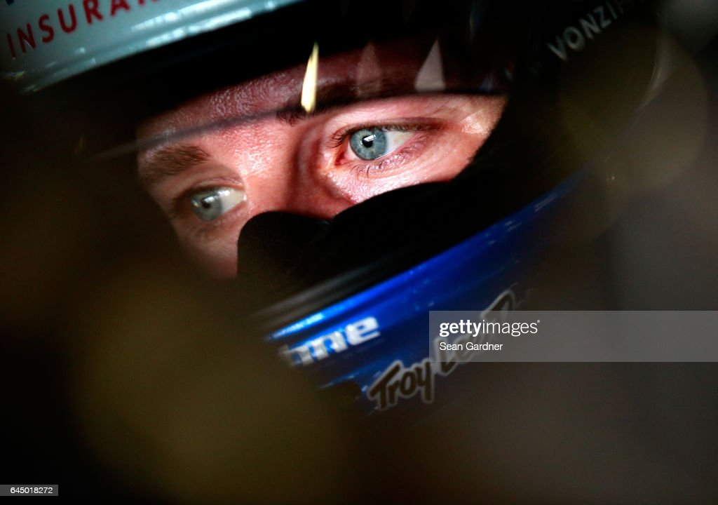 Kasey Kahne, driver of the #5 Farmers Insurance Chevrolet, sits in his car during practice for the 59th Annual DAYTONA 500 at Daytona International Speedway on February 24, 2017 in Daytona Beach, Florida.
