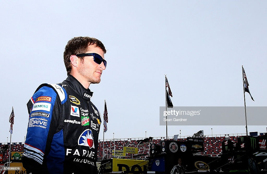 <a gi-track='captionPersonalityLinkClicked' href=/galleries/search?phrase=Kasey+Kahne&family=editorial&specificpeople=183374 ng-click='$event.stopPropagation()'>Kasey Kahne</a>, driver of the #5 Farmers Insurance Chevrolet, walks through the garage area during practice for the NASCAR Sprint Cup Series GEICO 500 at Talladega Superspeedway on April 29, 2016 in Talladega, Alabama.