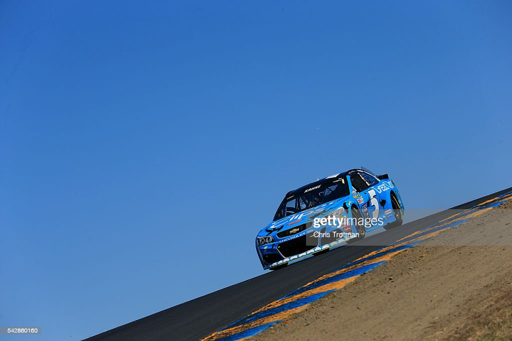 Kasey Kahne, driver of the #5 Great Clips Chevrolet, practices for the NASCAR Sprint Cup Series Toyota/Save Mart 350 at Sonoma Raceway on June 24, 2016 in Sonoma, California.