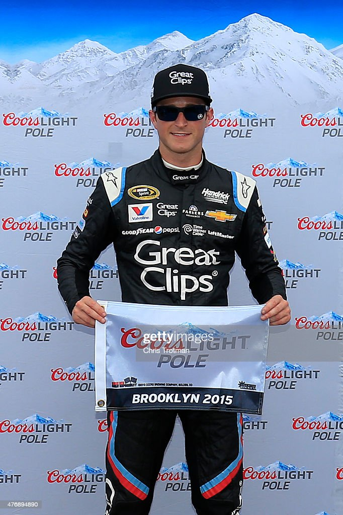 <a gi-track='captionPersonalityLinkClicked' href=/galleries/search?phrase=Kasey+Kahne&family=editorial&specificpeople=183374 ng-click='$event.stopPropagation()'>Kasey Kahne</a>, driver of the #5 Great Clips Chevrolet, wins the pole during qualifying for the NASCAR Sprint Cup Series Quicken Loans 400 at Michigan International Speedway on June 12, 2015 in Brooklyn, Michigan.