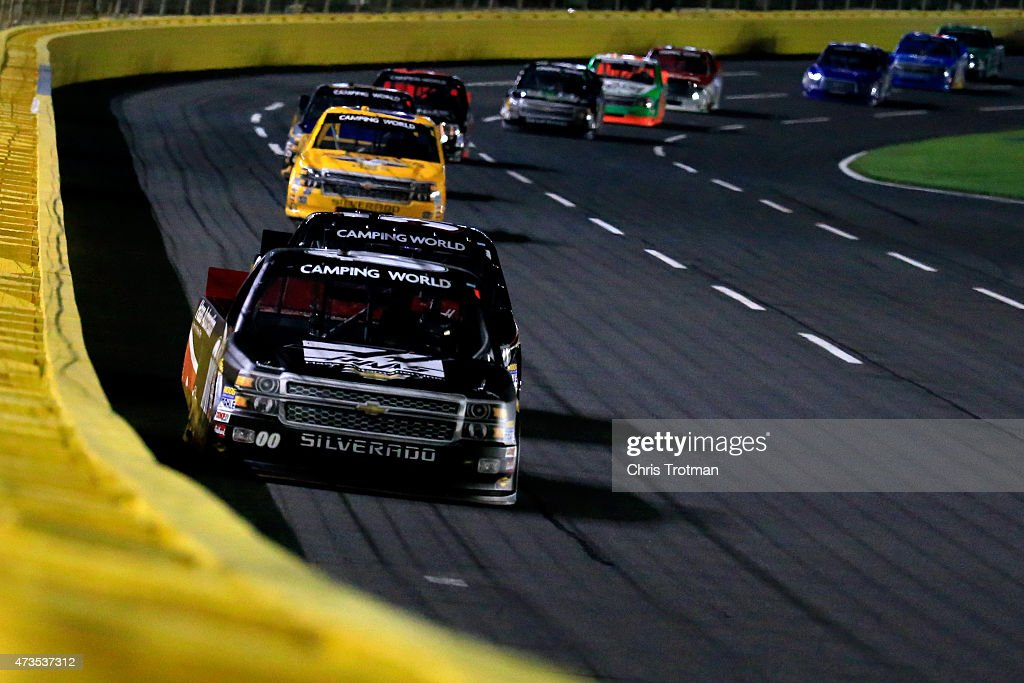Kasey Kahne driver of the Haas Automation Chevrolet leads the field during the NASCAR Camping World Truck Series North Carolina Education Lottery 200...
