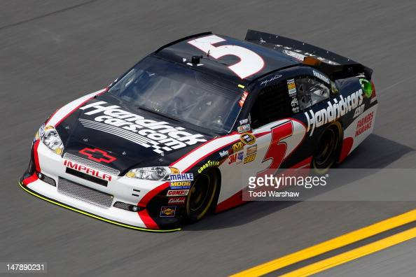 Kasey Kahne driver of the HendrickCarscom Chevrolet drives during practice for the NASCAR Sprint Cup Series Coke Zero 400 Powered by CocaCola at...