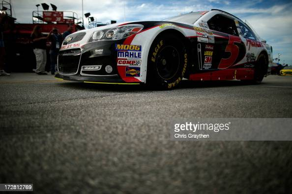 Kasey Kahne driver of the Hendrickcarscom Chevrolet drives through the garage area during practice for the NASCAR Sprint Cup Series Coke Zero 400 at...