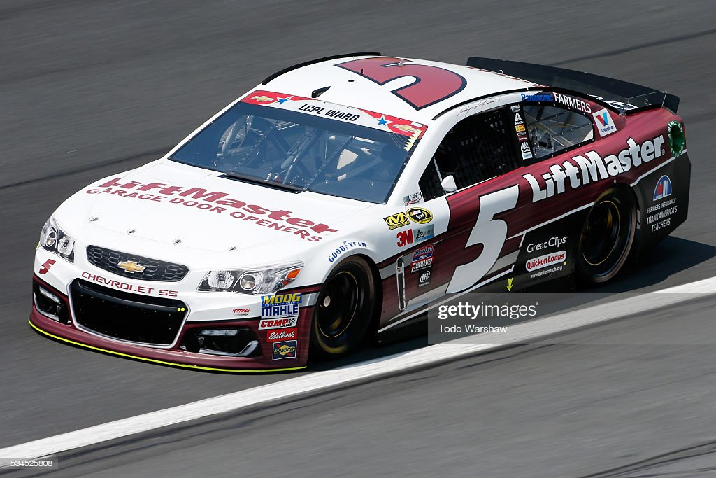 <a gi-track='captionPersonalityLinkClicked' href=/galleries/search?phrase=Kasey+Kahne&family=editorial&specificpeople=183374 ng-click='$event.stopPropagation()'>Kasey Kahne</a>, driver of the #5 Liftmaster Chevrolet, practices for the NASCAR Sprint Cup Series Coca-Cola 600 at Charlotte Motor Speedway on May 27, 2016 in Charlotte, North Carolina.