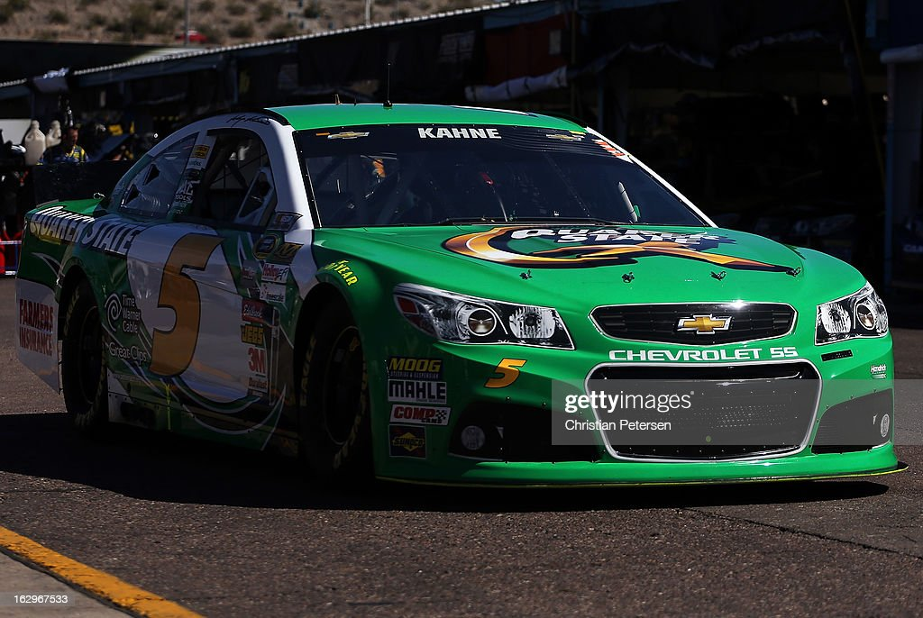 <a gi-track='captionPersonalityLinkClicked' href=/galleries/search?phrase=Kasey+Kahne&family=editorial&specificpeople=183374 ng-click='$event.stopPropagation()'>Kasey Kahne</a>, driver of the #5 Quaker State Chevrolet, drives though the garage area during practice for the NASCAR Sprint Cup Series Fresh Fit 500 at Phoenix International Raceway on March 2, 2013 in Avondale, Arizona.