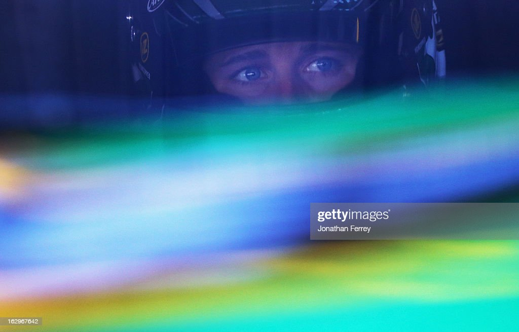 <a gi-track='captionPersonalityLinkClicked' href=/galleries/search?phrase=Kasey+Kahne&family=editorial&specificpeople=183374 ng-click='$event.stopPropagation()'>Kasey Kahne</a>, driver of the #5 Quaker State Chevrolet, sits in his car in the garage during practice for the NASCAR Sprint Cup Series Fresh Fit 500 at Phoenix International Raceway on March 2, 2013 in Avondale, Arizona.
