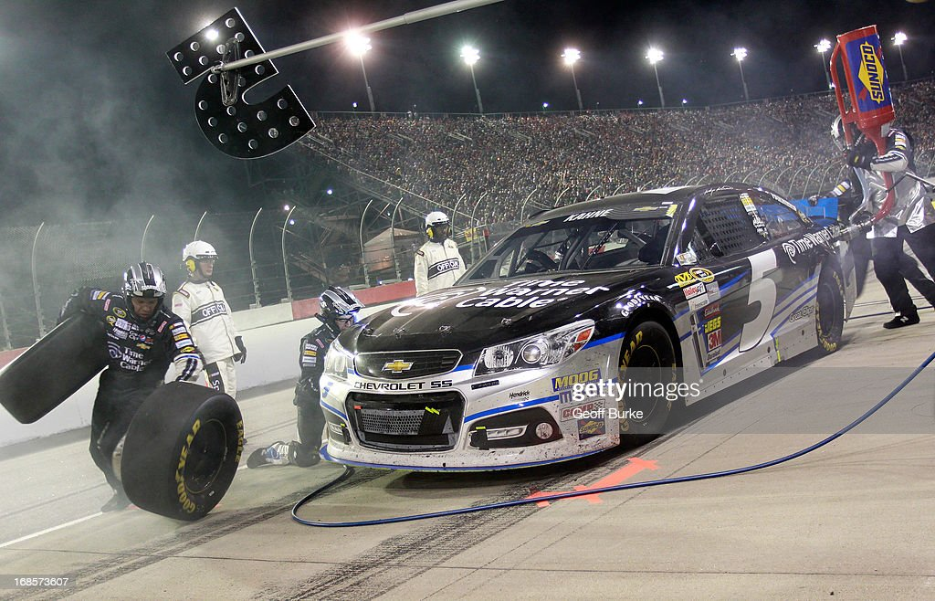 Kasey Kahne, driver of the #5 Time Warner Cable Chevrolet, pits during the NASCAR Sprint Cup Series Bojangles' Southern 500 at Darlington Raceway on May 11, 2013 in Darlington, South Carolina.