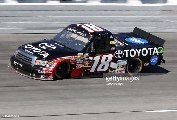 Kasey Kahne driver of the Toyota drives on track during practice for the Too Tough to Tame 200 at Darlington Raceway on March 12 2011 in Darlington...