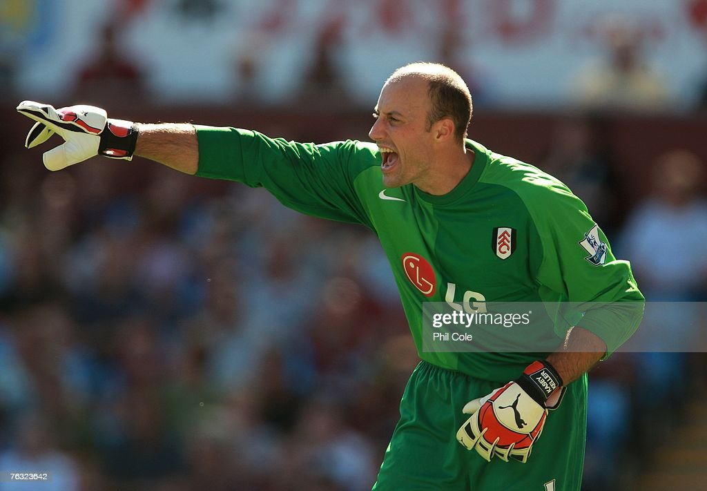 Kasey Keller of Fulham shouts during the Barclays Premier League match between Aston Villa and Fulham at Villa Park on August 25 2007 in Birmingham...