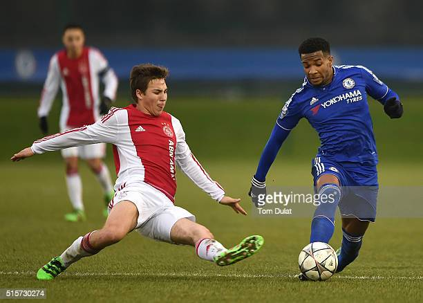 Kasey Palmer of Chelsea and Carel Eiting of Ajax in action during the UEFA Youth League quarter final match between Chelsea and Ajax at Chelsea...