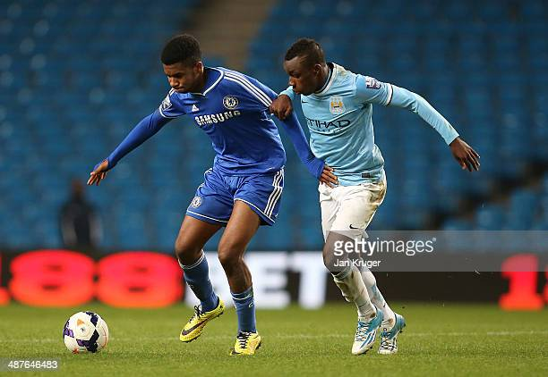 Kasey Palmer of Chelsea controls the ball from Thierry Ambrose of Manchester City during the Barclays U21 Premier League match between Manchester...