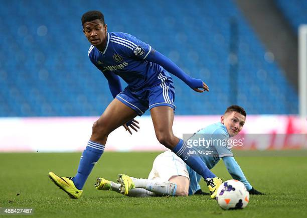 Kasey Palmer of Chelsea during the Barclays U21 Premier League match between Manchester City U21 and Chelsea U21 at Etihad Stadium on May 1 2014 in...
