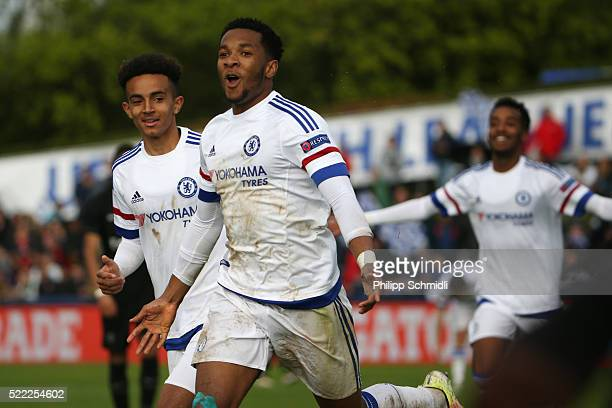 Kasey Palmer of Chelsea FC celebrates after scoring his team's second goal during the UEFA Youth League Final match between Paris Saint Germain and...