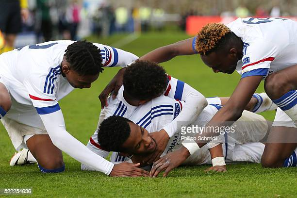 Kasey Palmer of Chelsea FC celebrates with his teammates after scoring his team's second goal during the UEFA Youth League Final match between Paris...