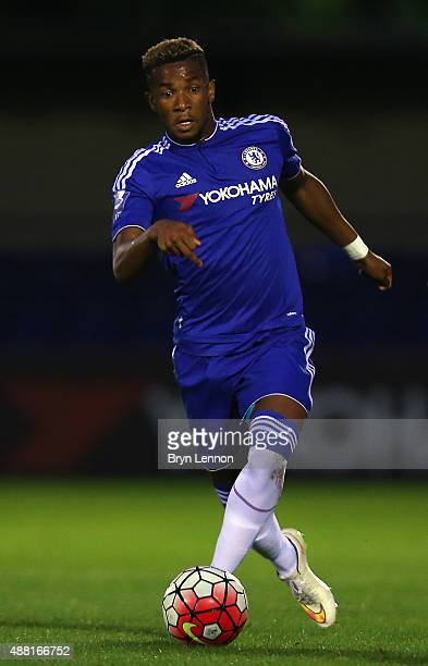 Kasey Palmer of Chelsea in action during the Premier League International Cup match between Chelsea U21 and Liverpool U21 on September 11 2015 in...