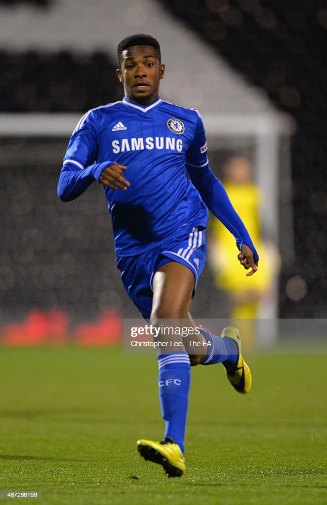 Kasey Palmer of Chelsea U18 in action during the FA Youth Cup Final First Leg match between Fulham U18 and Chelsea U18 at Craven Cottage on April 28, 2014 in London, England.