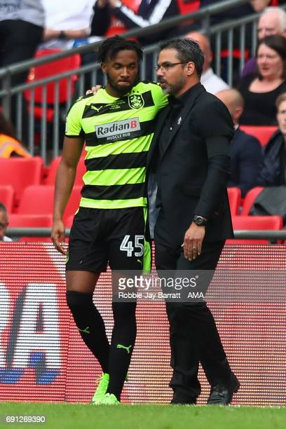 Kasey Palmer of Huddersfield Town and David Wagner head coach / manager of Huddersfield Town during the Sky Bet Championship Play Off Final match...